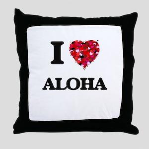 I Love Aloha Throw Pillow