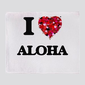 I Love Aloha Throw Blanket