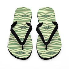 Fresh Green Geometric Flip Flops