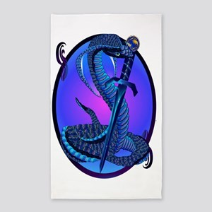 Blue Snake and Dagger Area Rug