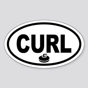 Curling Stone Oval Sticker