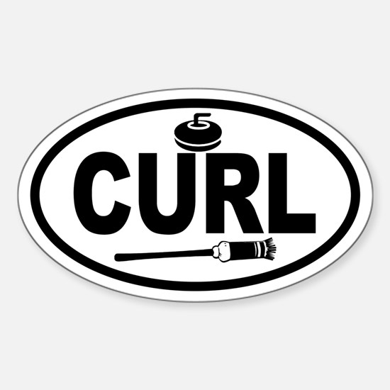 Curling Stone and Broom Oval Decal