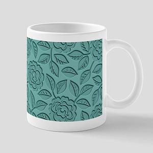 Engraved Roses Vintage Teal Mug