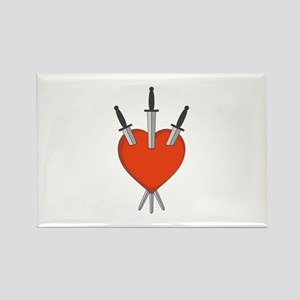 Three Of Swords Tarot Card Heart Symbol Magnets