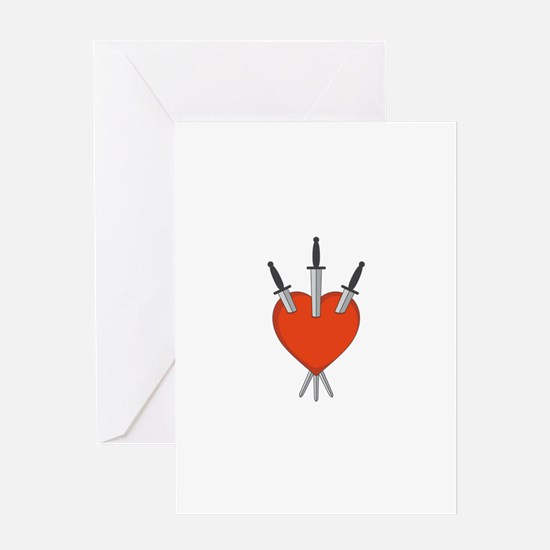 Three Of Swords Tarot Card Heart Symbol Greeting C