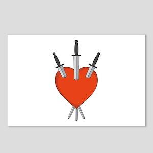 Three Of Swords Tarot Card Heart Symbol Postcards