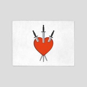 Three Of Swords Tarot Card Heart Symbol 5'x7'Area