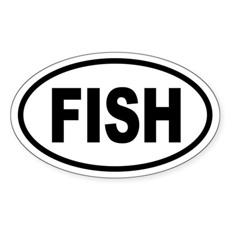 Basic Fishing Oval Sticker