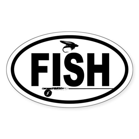 Fishing Fly and Rod Oval Sticker