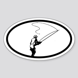 Fly Fisherman Oval Sticker