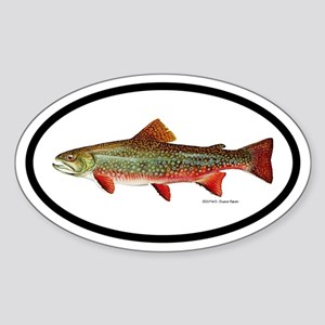 Trout Fishing Oval Sticker