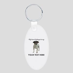 Custom Smooth Fox Terrier Aluminum Oval Keychain