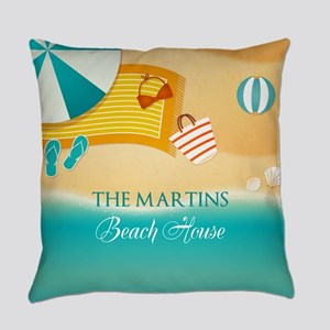Personalized Summer Beach Everyday Pillow