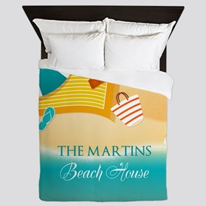 Personalized Summer Beach Queen Duvet