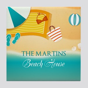 Personalized Summer Beach Tile Coaster