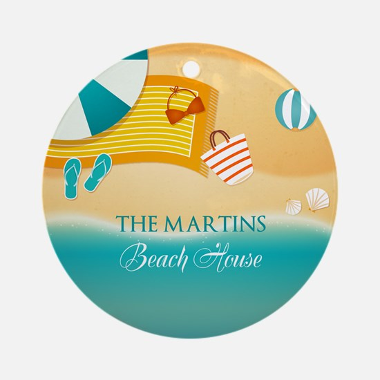Personalized Summer Beach Ornament (Round)