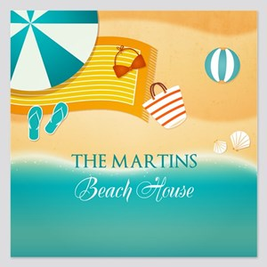Personalized Summer Beach 5.25 x 5.25 Flat Cards