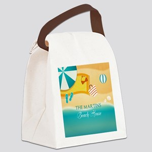 Personalized Summer Beach Canvas Lunch Bag