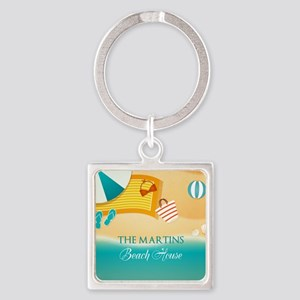 Personalized Summer Beach Square Keychain
