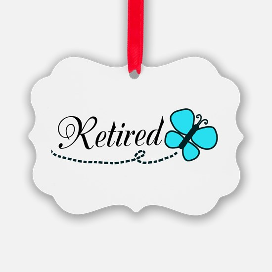 Retired Teal Black Butterfly Ornament