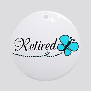 Retired Teal Black Butterfly Ornament (Round)