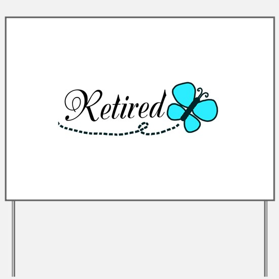 Retired Teal Black Butterfly Yard Sign