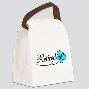 Retired Teal Black Butterfly Canvas Lunch Bag