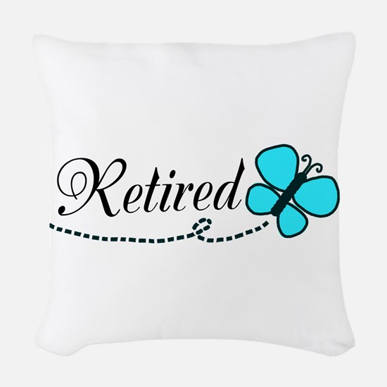 Retired Teal Black Butterfly Woven Throw Pillow