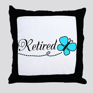 Retired Teal Black Butterfly Throw Pillow