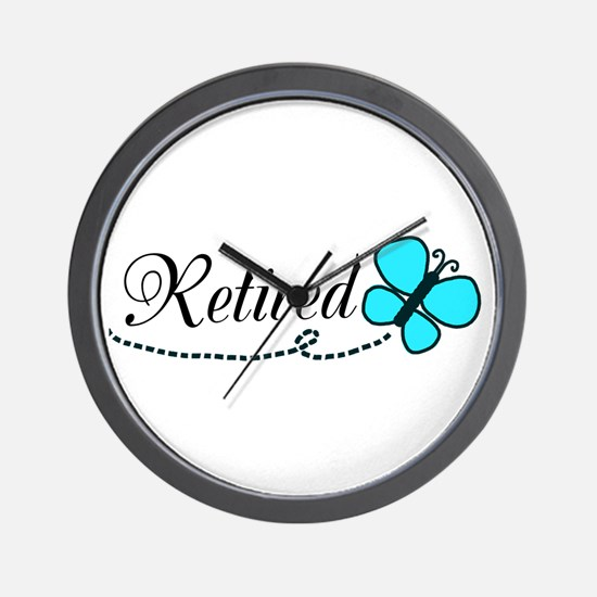 Retired Teal Black Butterfly Wall Clock
