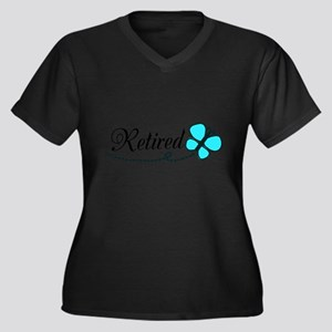 Retired Teal Black Butterfly Plus Size T-Shirt