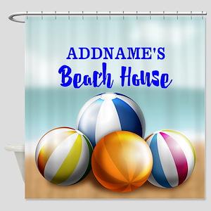 Personalized Beach Balls Beach Hous Shower Curtain