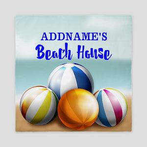 Personalized Beach Balls Beach House Queen Duvet