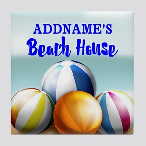 Personalized Beach Balls Beach House Tile Coaster