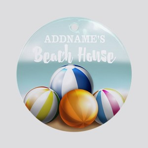 Beach House Perssonalized Ornament (Round)
