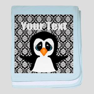 Personalizable Penguin on Damask baby blanket