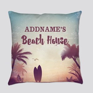 Personalized Tropical Beach House Everyday Pillow