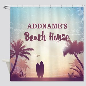 Personalized Tropical Beach House Shower Curtain
