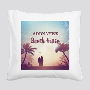 Personalized Tropical Beach H Square Canvas Pillow