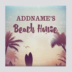 Personalized Tropical Beach House Tile Coaster