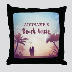 Personalized Tropical Beach House Throw Pillow