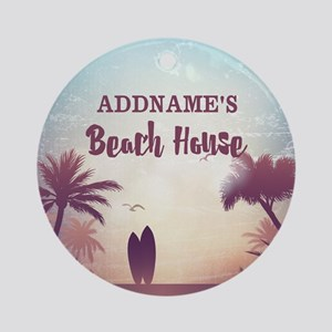 Personalized Tropical Beach House Ornament (Round)