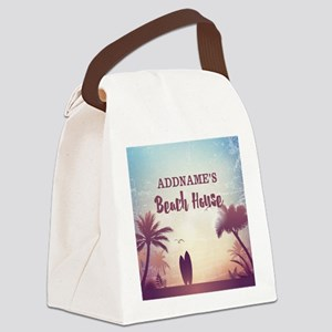 Personalized Tropical Beach House Canvas Lunch Bag