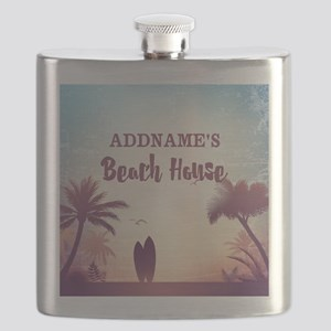 Personalized Tropical Beach House Flask