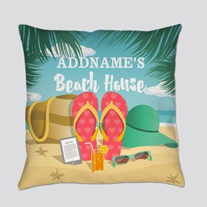 Tropical Paradise Beach House Pers Everyday Pillow