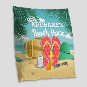 Tropical Paradise Beach House Burlap Throw Pillow