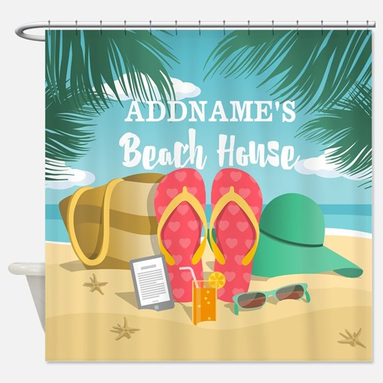 Tropical Paradise Beach House Perso Shower Curtain