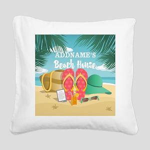 Tropical Paradise Beach House Square Canvas Pillow