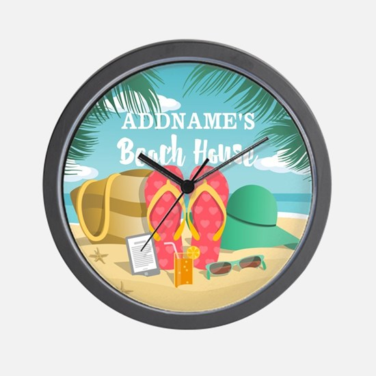 Tropical Paradise Beach House Personali Wall Clock