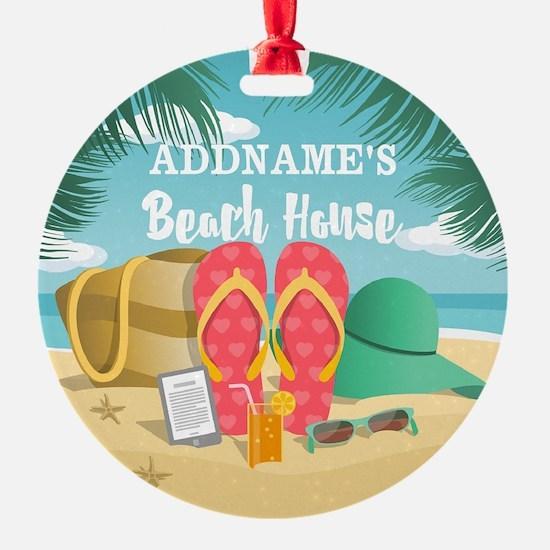 Tropical Paradise Beach House Perso Ornament